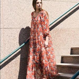 Mes Demoiselles Vera  Floral Print Maxi Dress Red